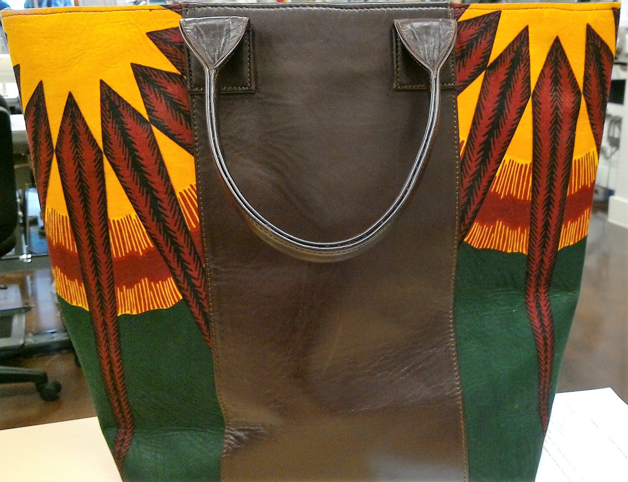 b550d43d6526 Assorted Leather Tote Bag w African Print Lining (by U4U) – Gallery ...